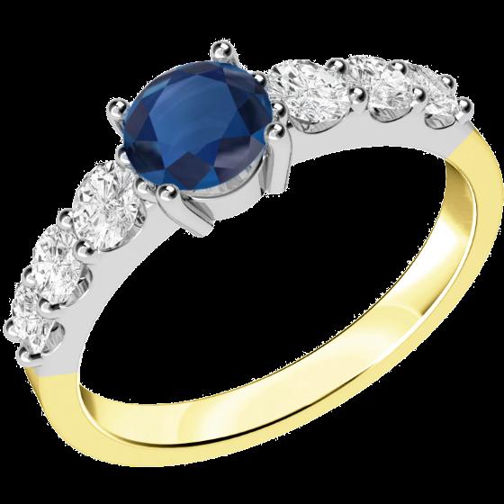Saphir und Diamant Ring für Dame in 18kt Gelb & Weißgold mit einem runden Saphir und 3 runden Brillanten auf beiden Seiten-img1
