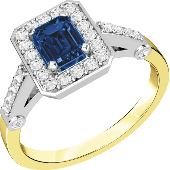 Saphir und Diamant Ring für Dame in 18kt Gelbgold und Weißgold mit einem Smaragd Schliff Saphir in der Mitte und runden Brillanten-img1