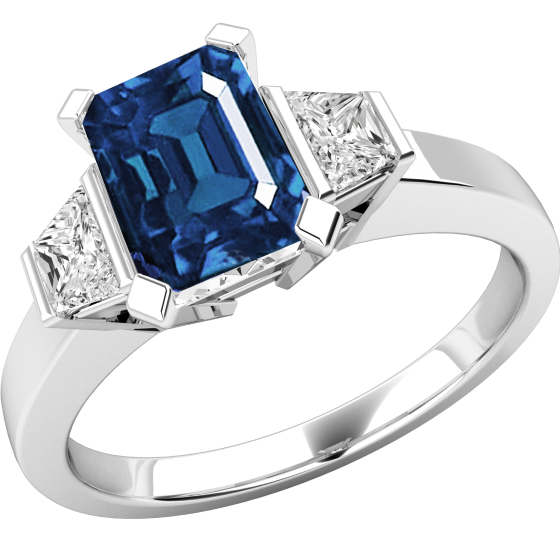 Saphir und Diamant Ring für Dame in 18kt Weißgold mit einem achteckigen Saphir und 2 Trapezschliff Diamanten auf den Schultern-img1