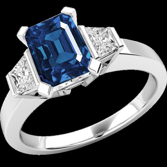 Inel cu Safir si Diamant Dama Aur Alb 18kt cu un Safir in Forma Octagon si 2 Diamante in Forma de Trapez-img1