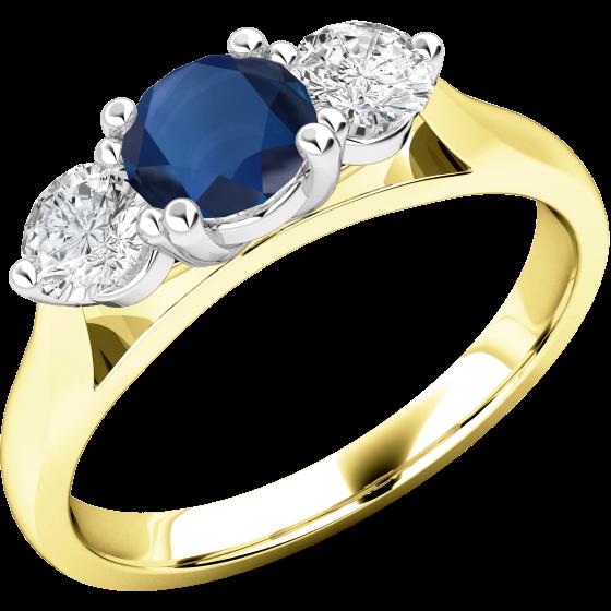 Saphir und Diamant Ring für Dame in 18kt Gelbgold und Weißgold mit einem runden Saphir und runden Brillanten auf beiden Seiten-img1