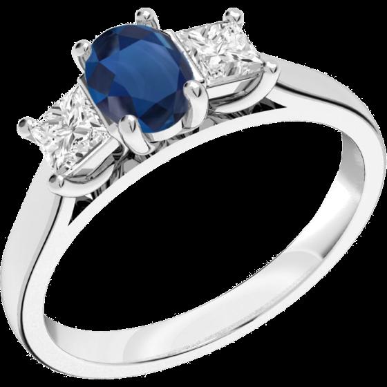 Saphir und Diamant Ring für Dame in 18kt Weißgold mit einem ovalen Saphir und 2 Princess Schliff Diamanten in Krappenfassung-img1