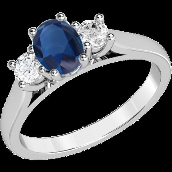 Saphir und Diamant Ring für Dame in 18kt Weißgold mit einem ovalen Saphir und 2 runden Brillanten in Krappenfassung-img1
