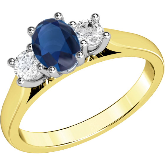 Saphir und Diamant Ring für Dame in 18kt Gelbgold und Weißgold mit einem ovalen Saphir und 2 runden Brillanten in Krappenfassung-img1