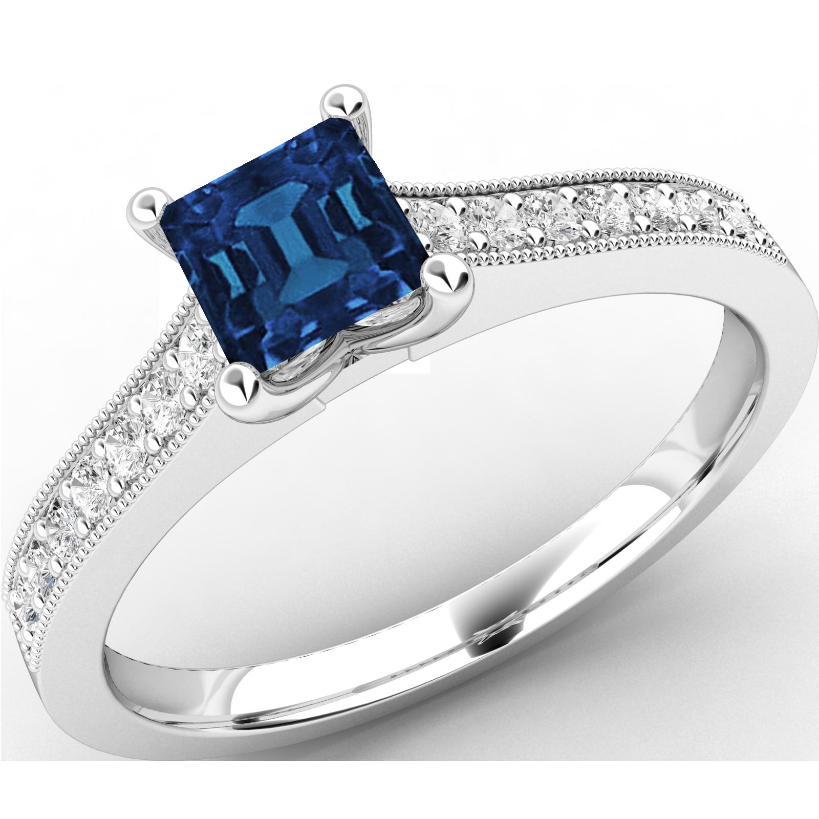 RDS495W-Inel cu Safir si Diamant Dama Aur Alb 18kt cu un Safir Patrat Central si Diamante Rotunde Briliant-img1