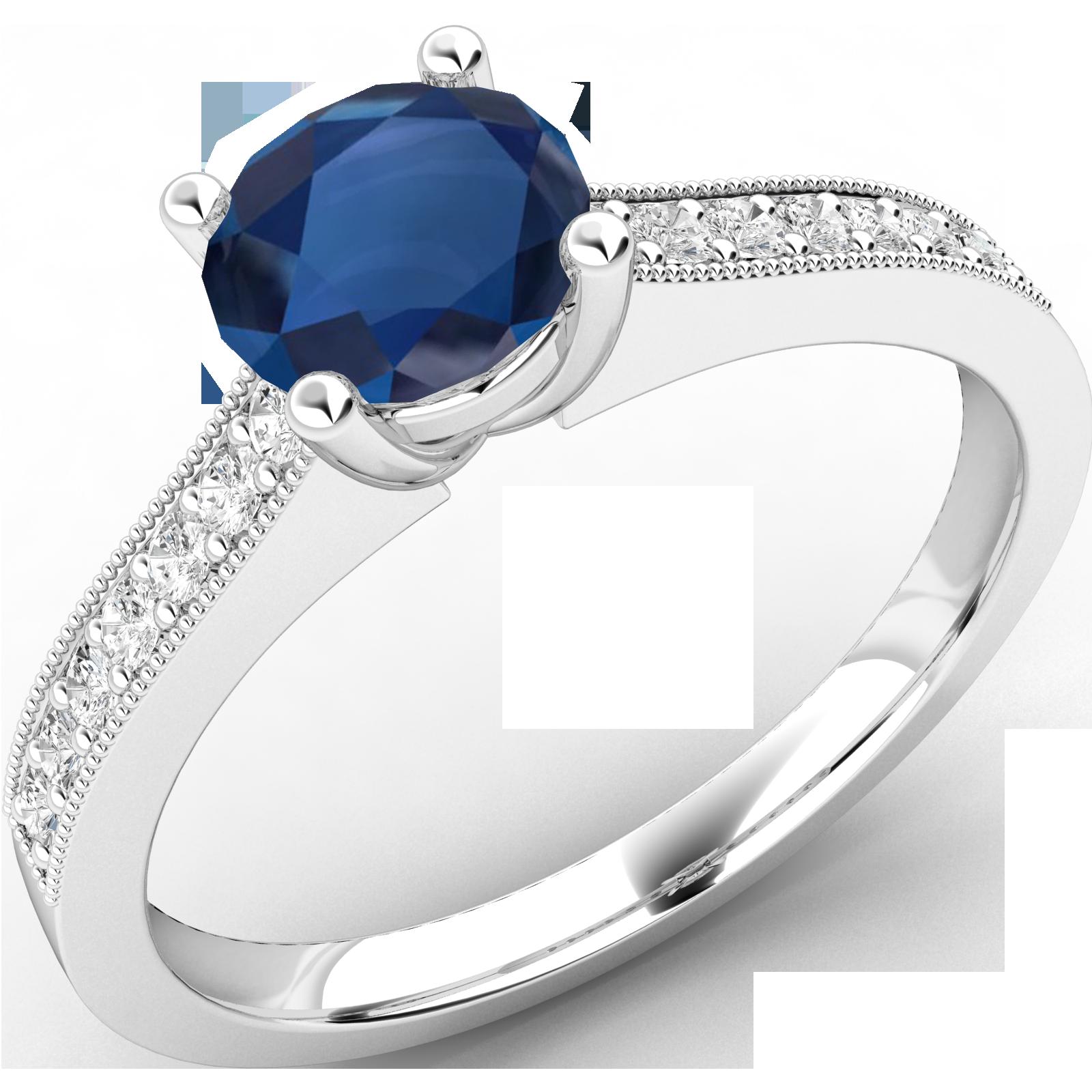 RDS497W-Inel cu Safir si cu Diamante Mici pe Lateral Dama Aur Alb 18kt Setat cu un Safir Central Rotund Briliant si Diamante Rotund Briliant pe Lateral-img1