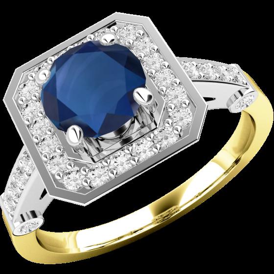 Saphir und Diamant Ring für Dame in 18kt Gelbgold und Weißgold mit einem runden Saphir in der Mitte und kleinen runden Brillanten-img1