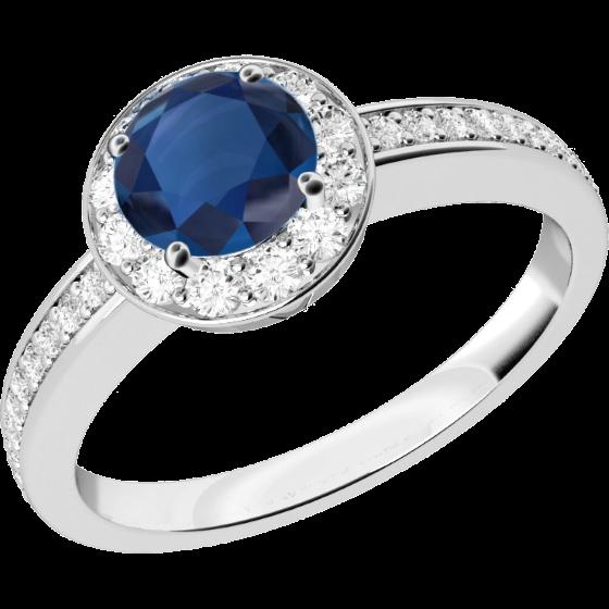 Saphir und Diamant Ring für Dame in 18kt Weißgold mit einem runden Saphir in 4er Krappenfassung umgeben von kleinen Brillanten-img1
