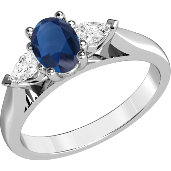 Sapphire and Diamond Ring for Women in 18ct white gold ...