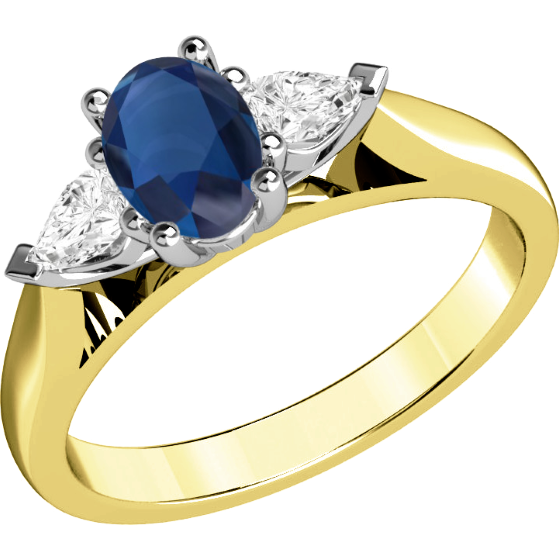 Saphir und Diamant Ring für Dame in 18kt Gelbgold und Weißgold mit einem ovalen Saphir und 2 Tropfen-Schliff Diamanten in Krappenfassung-img1