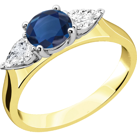 Saphir und Diamant Ring für Dame in 18kt Gelb & Weißgold mit einem runden Saphir und 2 Tropfen-Schliff Diamanten in Krappenfassung-img1