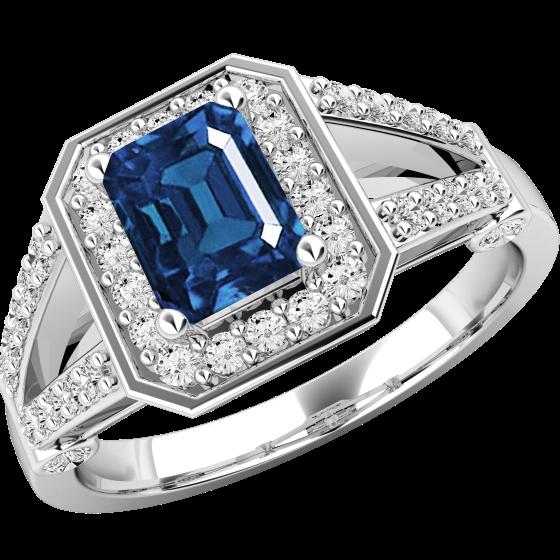 Saphir und Diamant Ring für Dame in 18kt Weißgold mit einem Smaragd-Schliff Saphir umgeben von runden Brillant Schliff Diamanten-img1