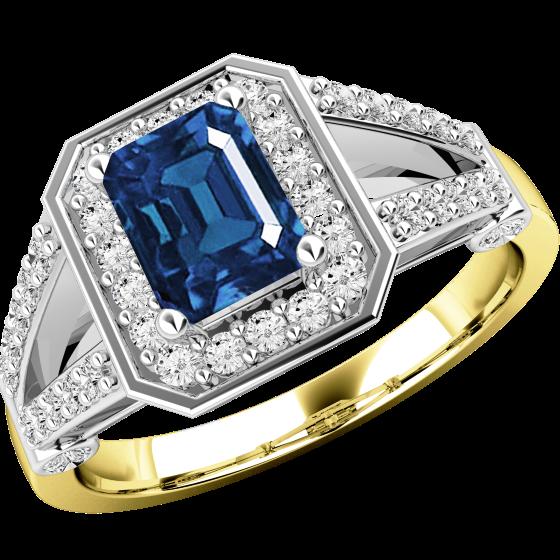 Saphir und Diamant Ring für Dame in 18kt Gelb &Weißgold mit einem Smaragd-Schliff Saphir umgeben von runden Brillant Schliff Diamanten-img1