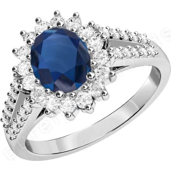 Saphir und Diamant Ring für Dame in 18kt Weißgold mit einem ovalen Saphir umgeben von runden Brillanten alle in Krappenfassung-img1