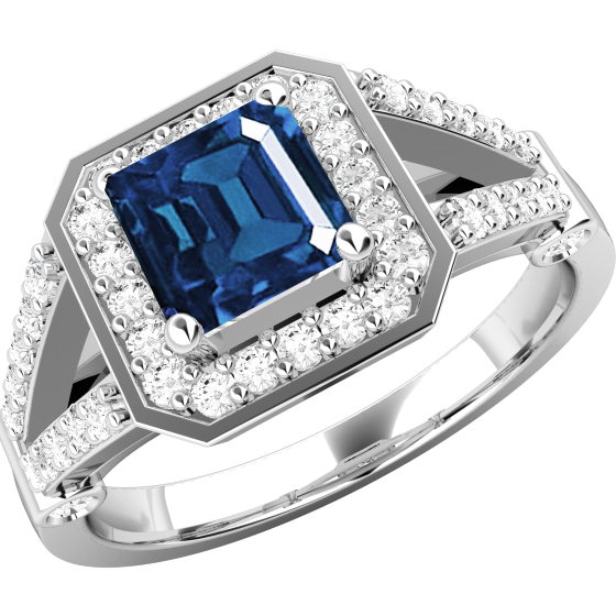 Inel cu Safir si Diamant Dama Aur Alb 18kt cu un Safir Patrat si Diamante Mici Rotund Briliant pe Margini si Lateral-img1