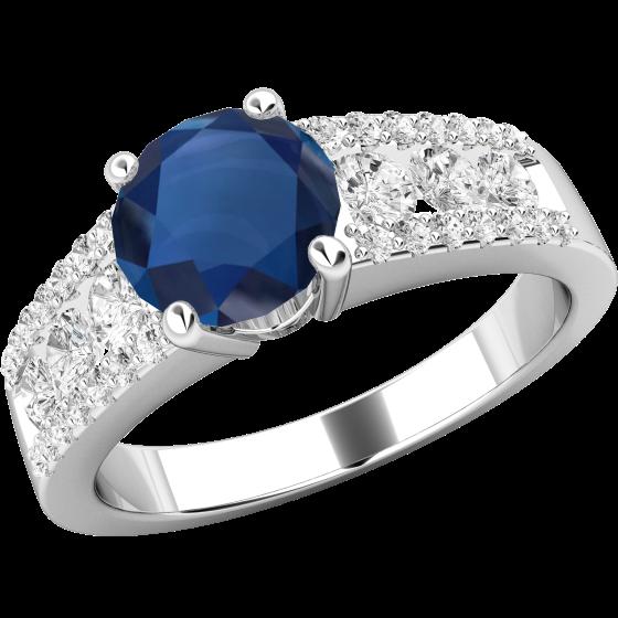 Saphir und Diamant Ring für Dame in 18kt Weißgold mit einem Saphir und runden Brillanten in Kanal und Krappenfassung-img1