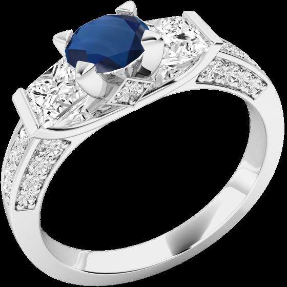 Inel cu Safir si Diamant Dama Aur Alb 18kt cu un Safir Rotund in Centru, Diamante Forma Princess pe Margini si Diamante Mici Rotund Briliant pe Lateral-img1