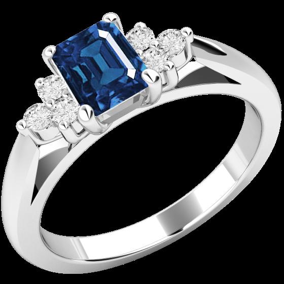 Inel cu Safir si Diamant Dama Aur Alb 18kt cu un Safir Taietura Smarald si Diamante Mici Rotund Briliant-img1