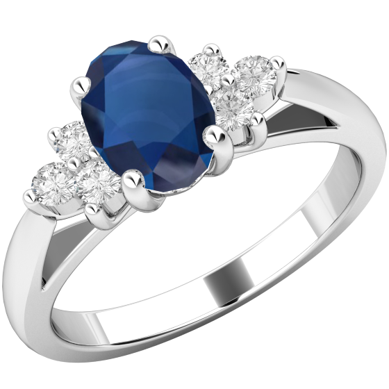 Saphir und Diamant Ring für Dame in 18kt Weißgold mit einem Ovalen Saphir und 3 runden Brillanten auf jeder Seite in Krappenfassung-img1