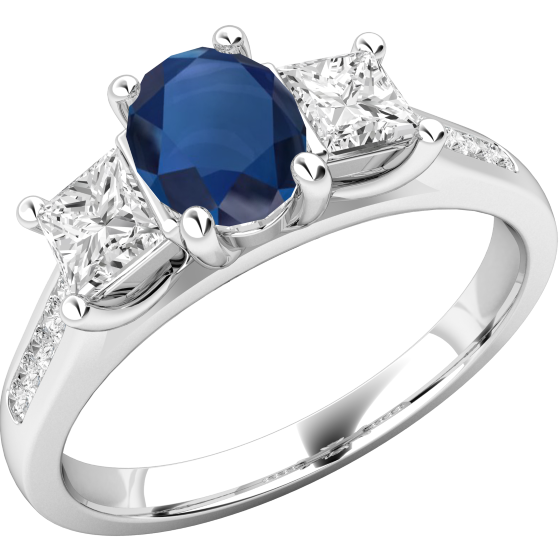 Saphir und Diamant Ring für Dame in 18kt Weißgold mit einem ovalen Saphir und Princess Schliff Diamanten auf den Seiten und Brillanten auf den Schultern-img1