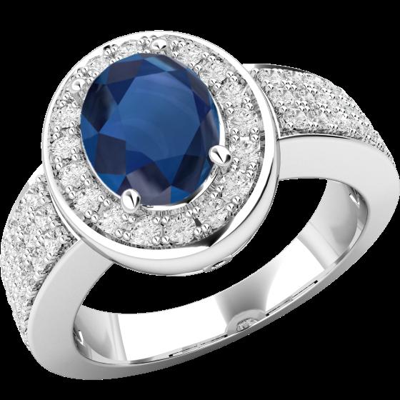 Inel cu Safir si Diamant Dama Aur Alb 18kt cu un Safir Oval in Centru Inconjurat de Diamante Mici Rotund Briliant-img1
