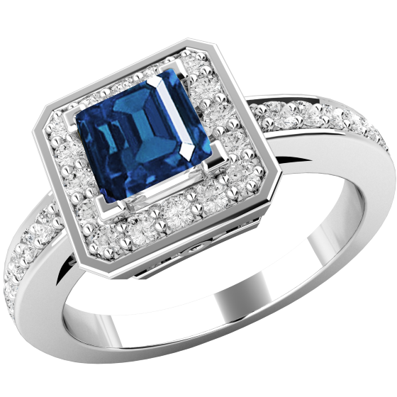 Sapphire and Diamond Cluster Ring for Women in 18ct white gold with a square cut sapphire centre and round brilliant cut diamonds surrounding it, all in a claw setting-img1