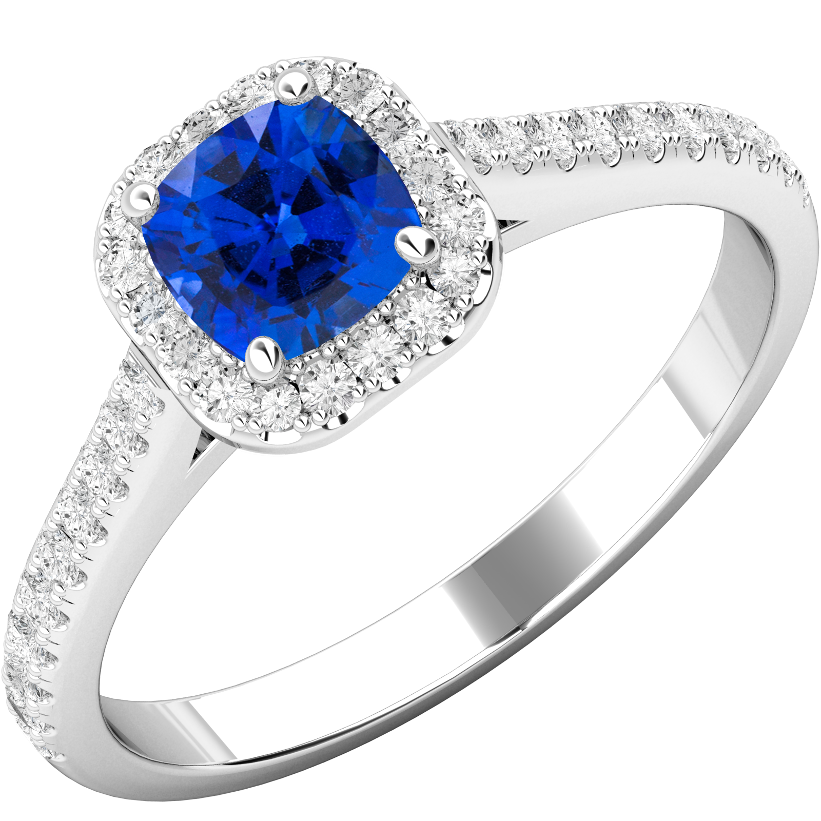 RDS591W-Inel cu Safir si Diamante Dama Aur Alb 18kt cu Safir Central Forma Cushion si Diamante Rotunde Briliant,Stil Halo-img1