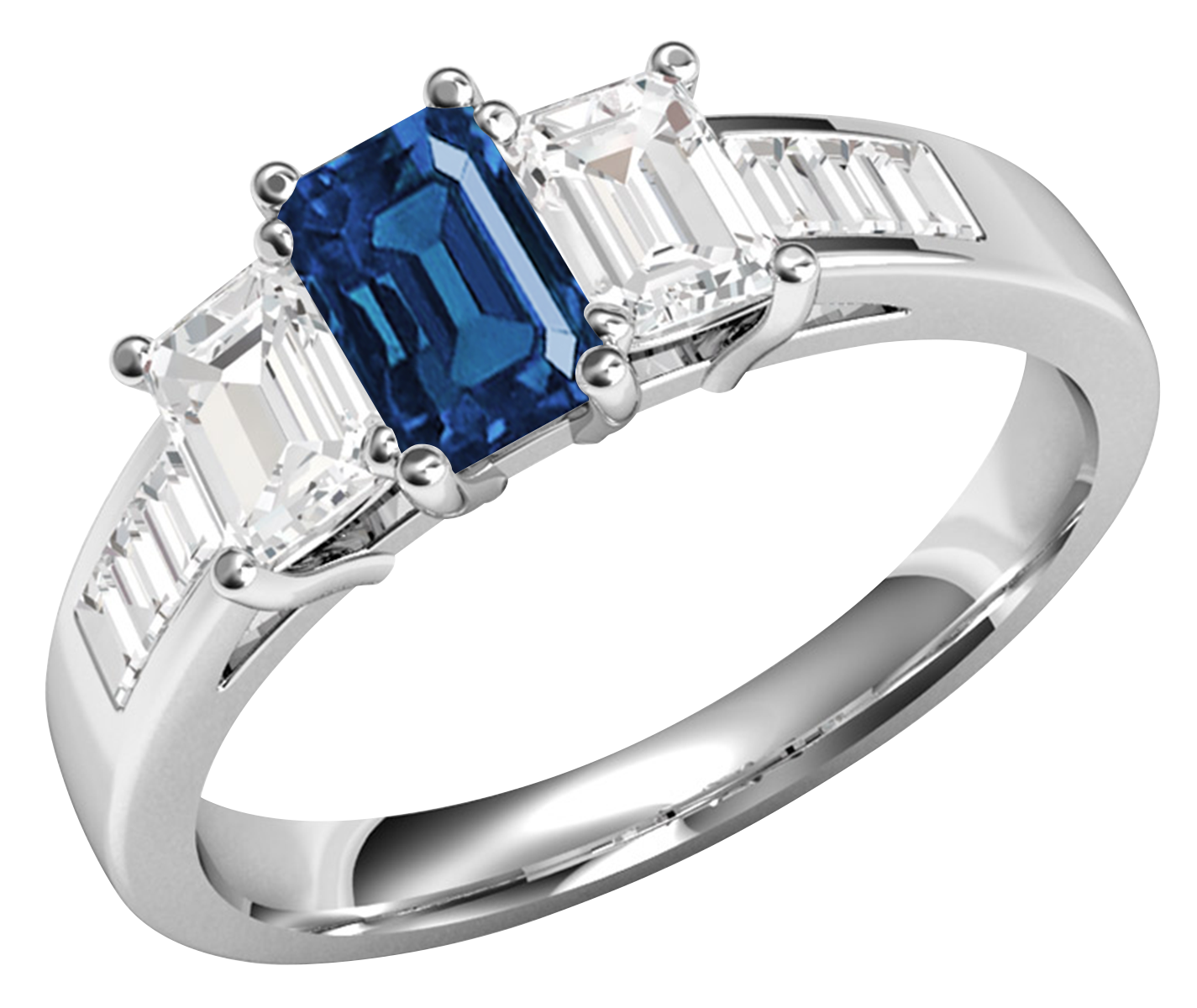 RDS603W-Inel cu Safir si Diamante Dama Aur Alb 18kt cu un Safir si 2Diamante in Forma Smarald in Setare Gheare si Diamante in Forma Bagheta pe Lateral-img1