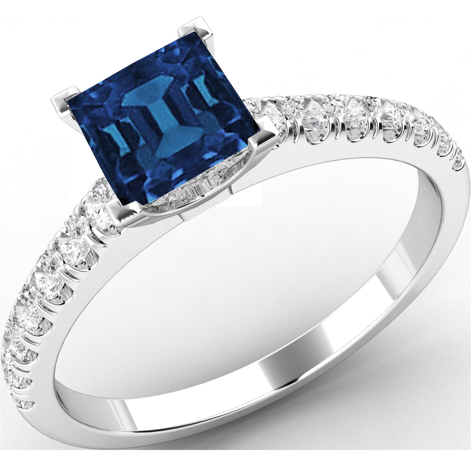 RDS606W-Inel Solitaire cu Safir si Diamante Mici pe Lateral Dama Aur Alb 18kt cu un Safir Princess si 7 Diamante Rotund Briliant toate Setate cu Gheare-img1