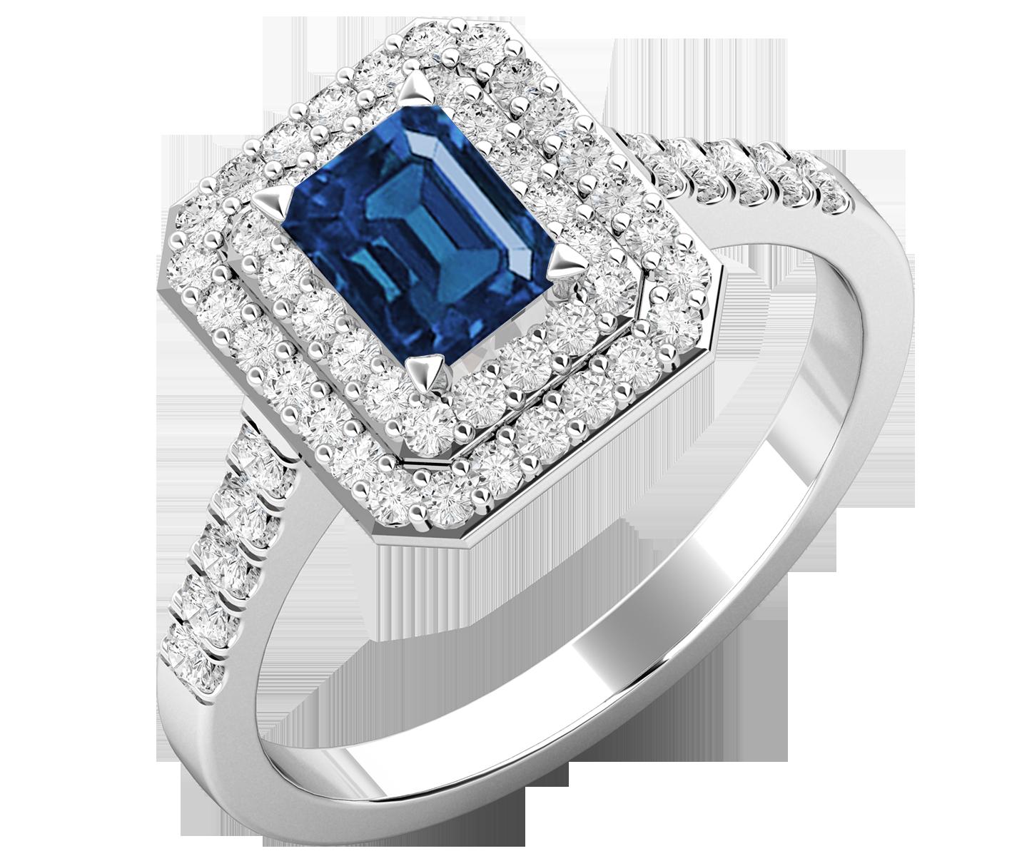 RDS614W-Inel cu Safir si Diamante Dama Aur Alb 18kt cu un Safir in Forma Smarald in Centru si Diamante Mici Rotund Briliant pe Margini-img1