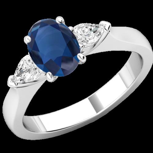 RDS713W-Inel cu Safir si Diamante Dama Aur Alb 18kt un Safir Oval si 2 Diamante Forma Para pe Margini-img1