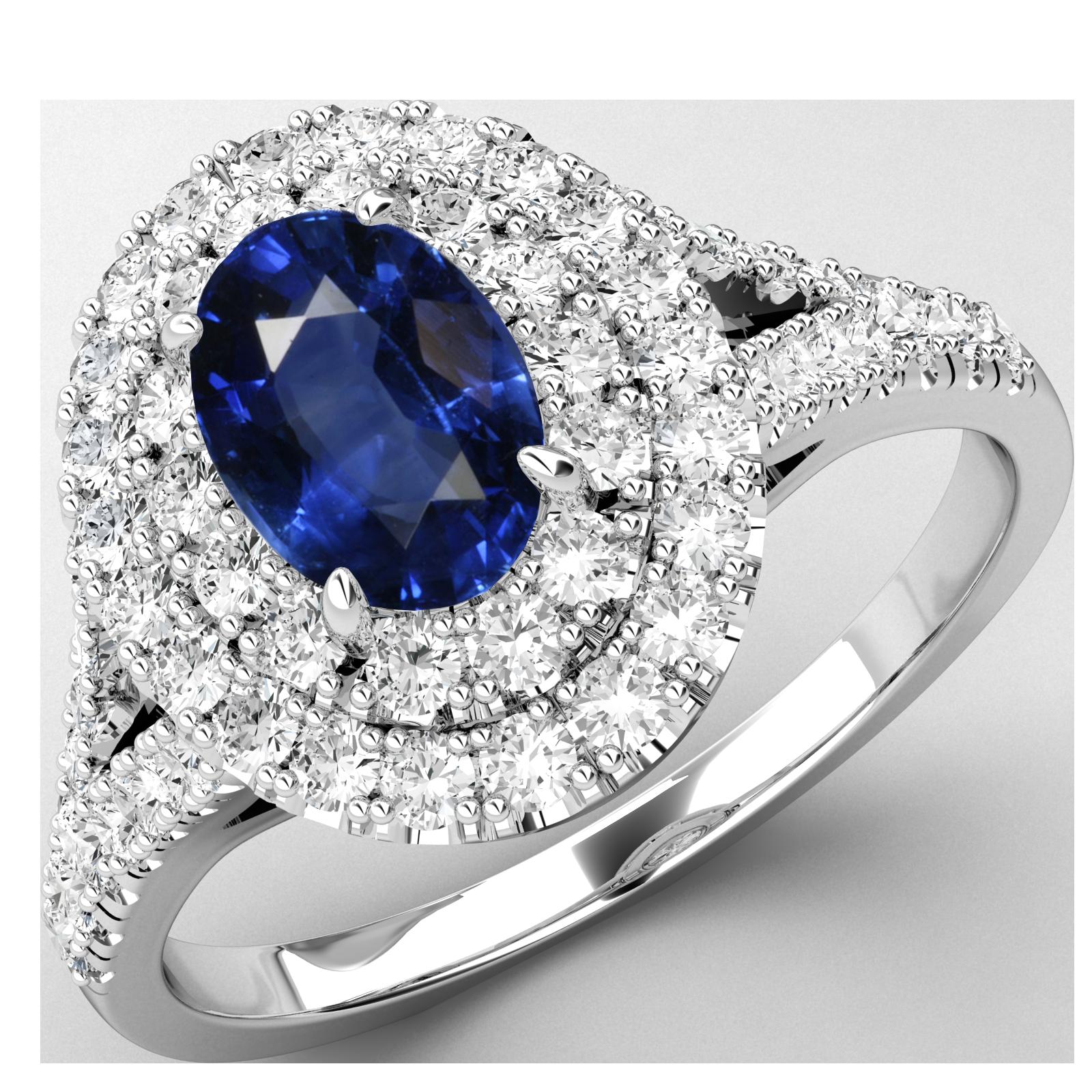 RDS762W-Inel Cocktail/Inel cu Safir si Diamante Dama Aur Alb 18kt cu un Safir Central Oval si Diamante Mici Rotund Briliant-img1