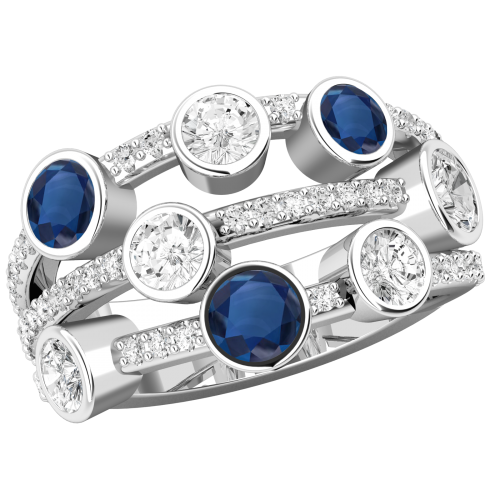 RDS770W-Inel cu Safir si Diamant Dama Aur Alb 18kt cu 5Diamante Rotund Briliant si 3Safire Rotunde in Setare Rub Over, Inel Cocktail-img1