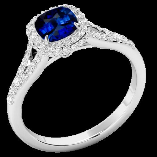 RDS867W-Inel cu Safir si Diamante Dama Aur Alb 18kt cu Diamante Rotunde Briliant Stil Halo, si un Safir Central Cushion-img1
