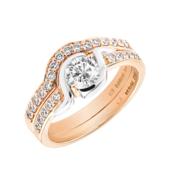 Set Inel de Logodna Solitaire cu Diamante Laterale si Verigheta Dama Aur Roz si Aur Alb 18kt cu Diamante Rotunde Briliant in Stoc-img1
