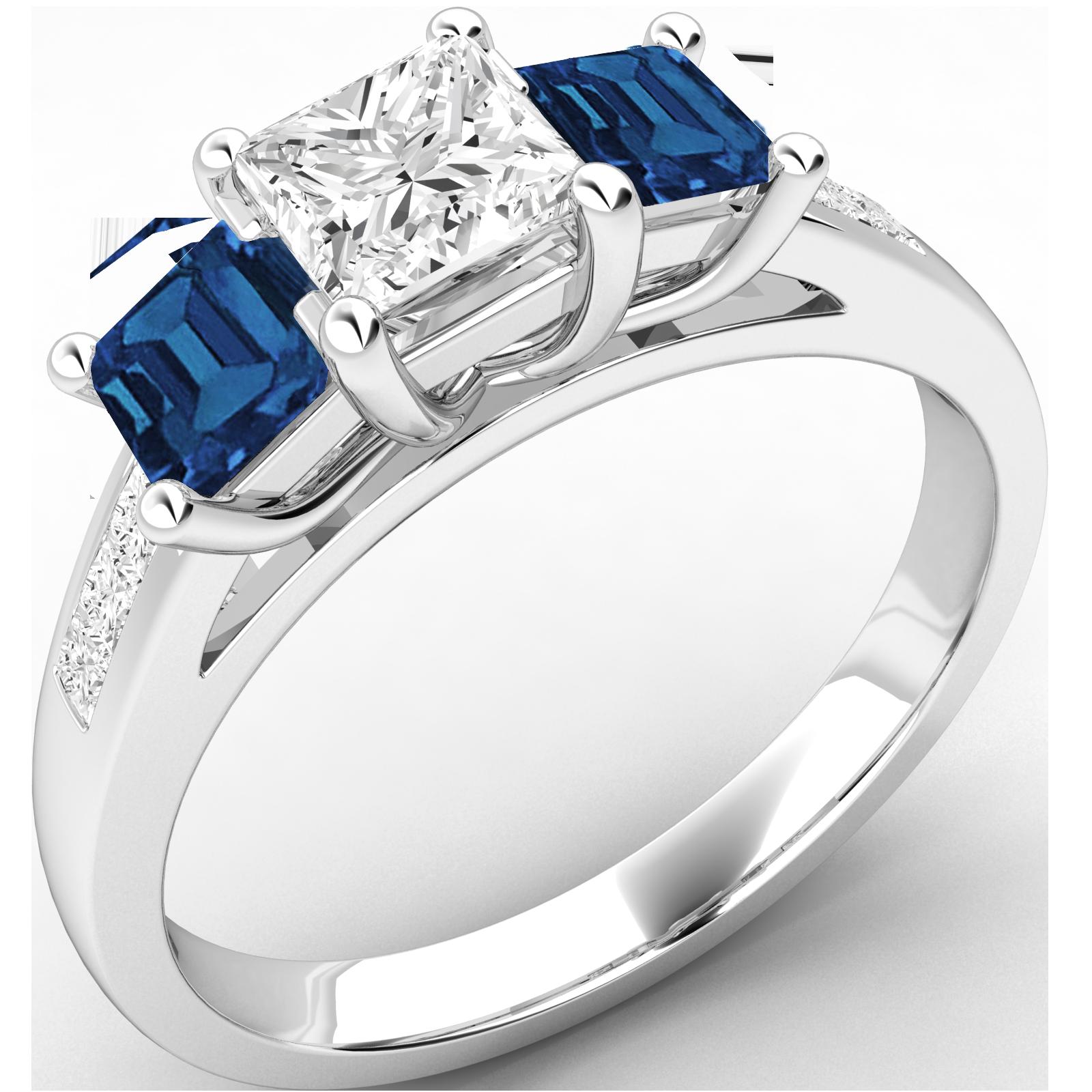 RDSS111W-Inel cu Diamant si Safir Dama Aur Alb 18kt cu un Diamant Taietura Princess in Mijloc si Safir Taiat Patrat pe Fiecsre Parte-img1