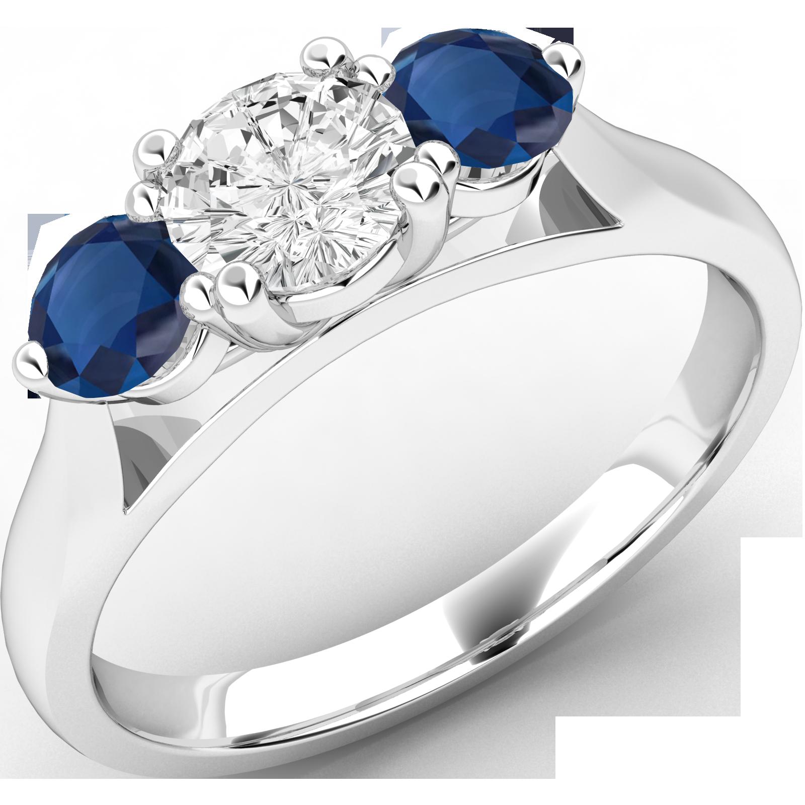 RDSS491W-Inel cu Diamant si Safir Dama Aur Alb 18kt cu un Diamant si 2 Safire Rotund Briliant in Setare Gheare,Stil Clasic-img1