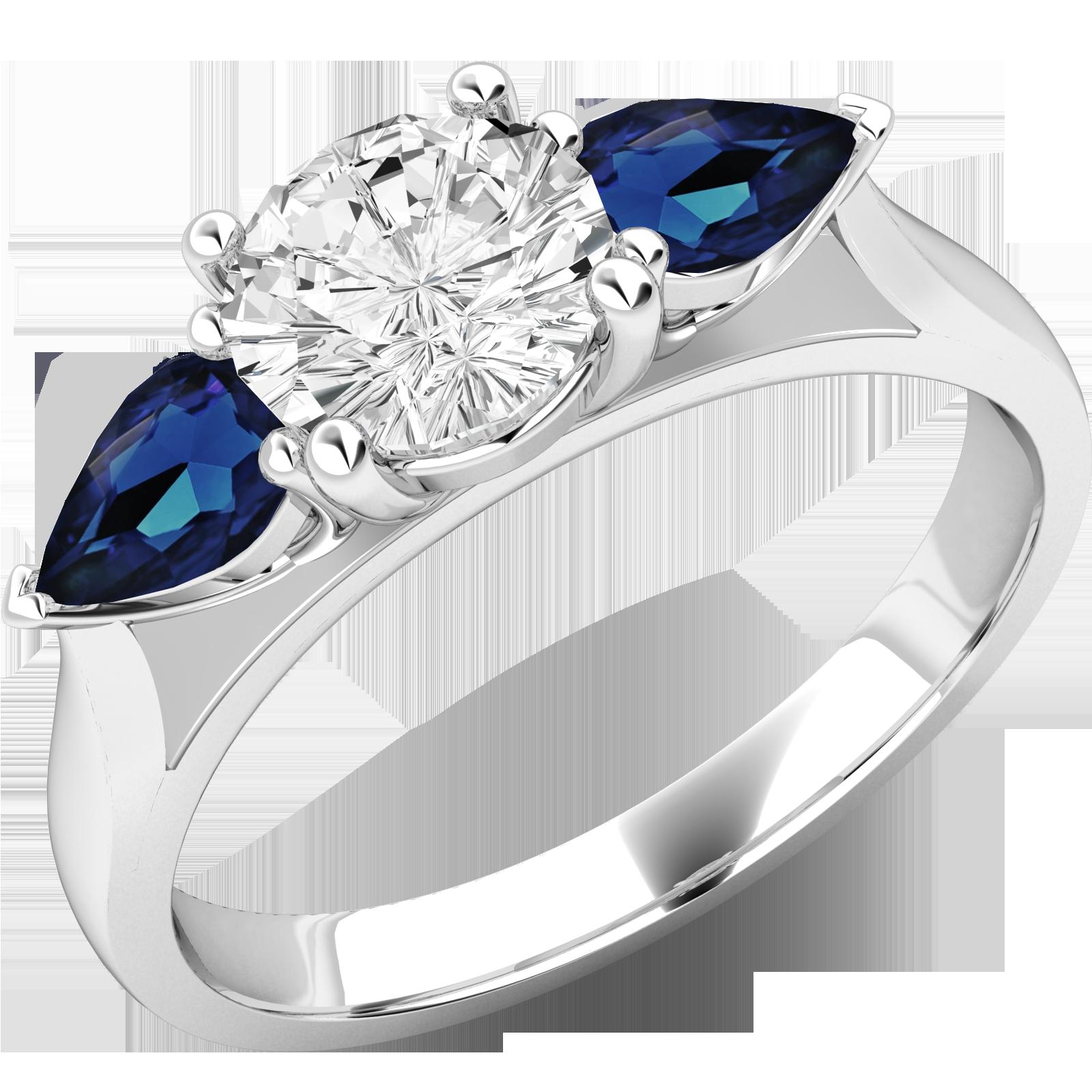 RDSS528W-Inel cu Diamant si Safir Dama Aur Alb 18kt cu un Diamant Rotund Brilliant in Mijloc si 2 Safire in Forma de Para pe Margini-img1