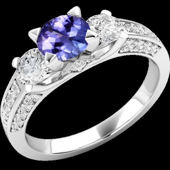 Tansanit und Diamant Ring für Dame in 18kt Weißgold mit einem runden Tansanit mit runden Brillant Schliff Diamanten auf beiden Seiten und auf den Schultern-img1
