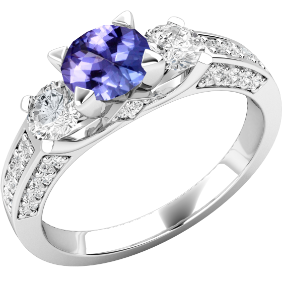 Inel cu Tanzanit si Diamant Dama Aur Alb 18kt cu un Tanzanit Rotund in Centru si Diamante Rotund Briliant pe Abbele Parti si pe Laterale-img1