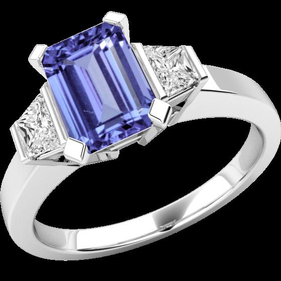 Tansanit und Diamant Ring für Dame in 18kt Weißgold mit einem achteckigen Tansanit und 2 Trapezschliff Diamanten auf den Schultern-img1