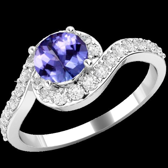 Tansanit und Diamant Ring für Dame in 18kt Weißgold mit einem runden Tansanit umgeben von runden Brillanten in Krappenfassung-img1