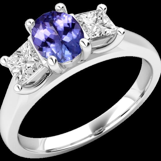 Inel cu Tanzanit si Diamant Dama Aur Alb 18kt cu un Tanzanit Oval si 2 Diamante Princess in Setare Gheare-img1