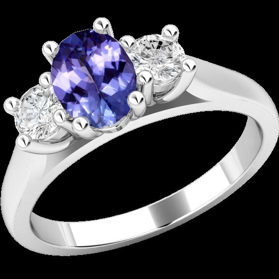 Inel cu Tanzanit si Diamant Dama Aur Alb 18kt cu un Tanzanit Oval si 2 Diamante Rotund Briliant in Setare Gheare-img1