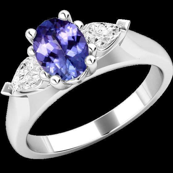 Tansanit und Diamant Ring für Dame in 18kt Weißgold mit einem ovalen Tansanit und 2 Tropfen-Schliff Diamanten-img1