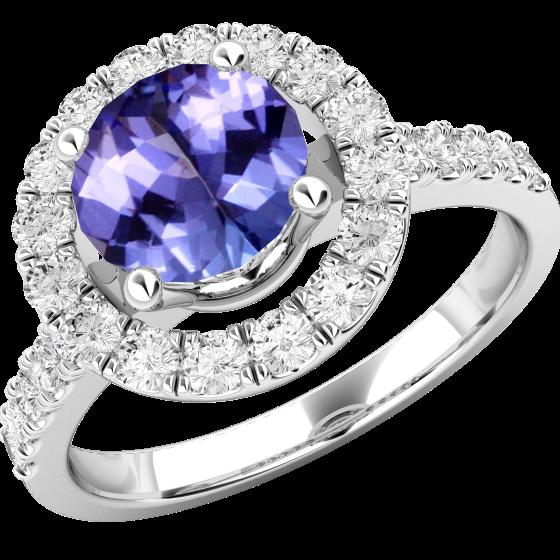 Tansanit und Diamant Ring für Dame in 18kt Weißgold mit einem runden Tansanit umgeben von runden Brillant Schliff Diamanten Halo-Stil-img1