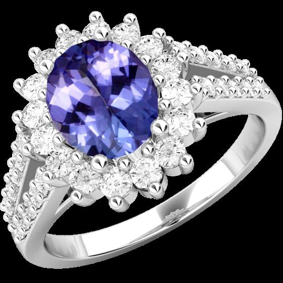 Inel cu Tanzanit si Diamant Dama Aur Alb 18kt cu un Tanzanit Oval in Centru si Diamante Rotunde in Jur Setate cu Gheare-img1