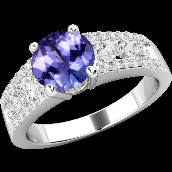 Tansanit und Diamant Ring für Dame in 18kt Weißgold mit einem runden Tansanit und runden Brillanten in Kanal & Krappenfassung-img1
