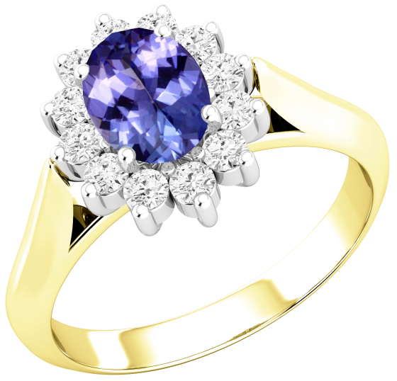 Tanzanite and Diamond Cluster Ring for Women in 18ct yellow and white gold with an oval tanzanite centre surrounded by round brilliant cut diamonds, all in a claw setting-img1