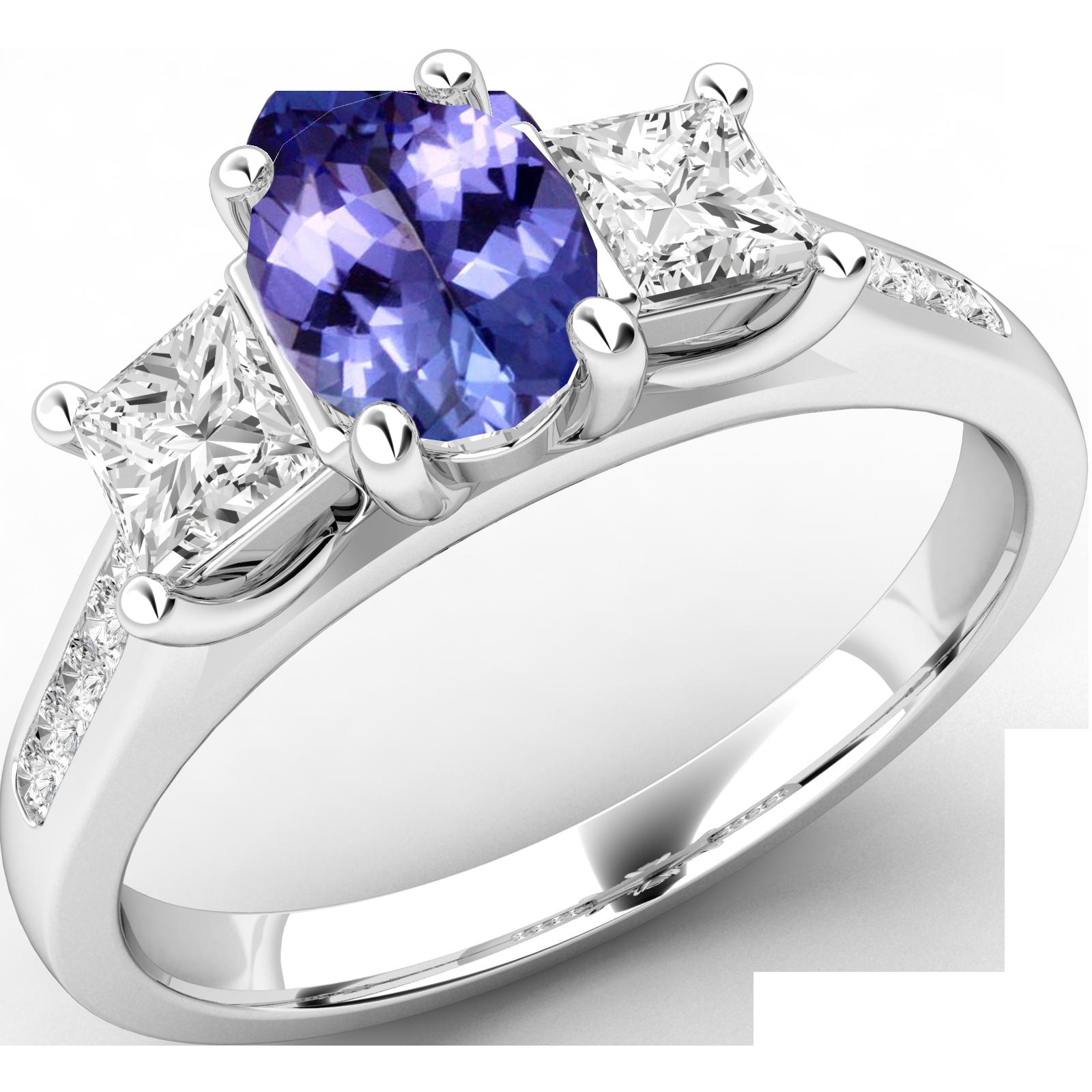 RDT568W-Inel cu Tanzanit si Diamant Dama Aur Alb 18kt cu un Tanzanit Oval si 2 Diamante Princess in Setare Gheare,Stil Elegant-img1